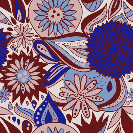 brown pattern: Blue brown pattern with flowers and ornaments. Vector illustration