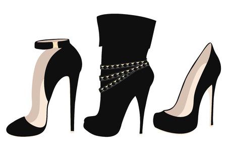 Set of fashionable black high heel shoes. Vector illustration