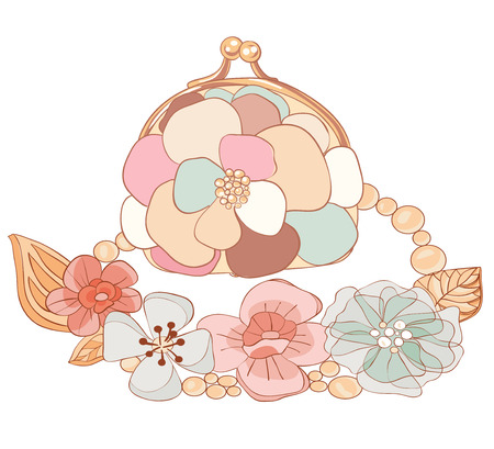 Purse and necklace in pastel colors. Vector illustration Illustration