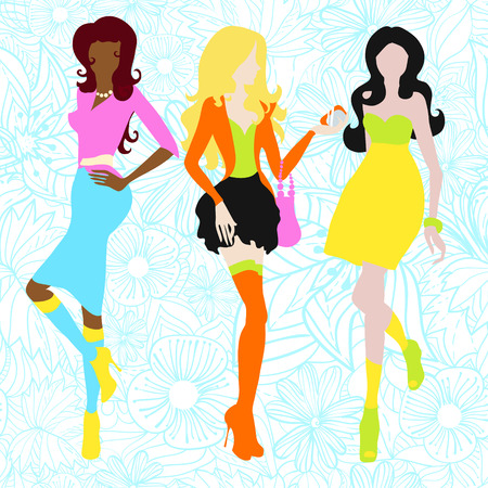 sixties: Silhouettes of girls in acid colors. Sixties. Vector illustration