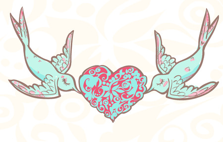 Lovers wedding birds with patterned heart. Vector illustration