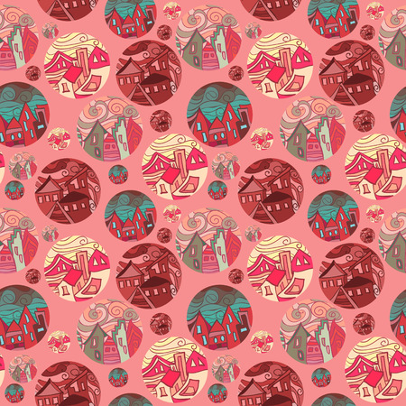 Seamless Pattern With Shots Of Cities In Red Tones. Vector illustration Vector