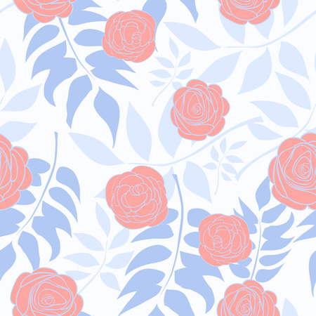 Pattern With Delicate Roses On A Background Of Blue Leaves. Vector illustration