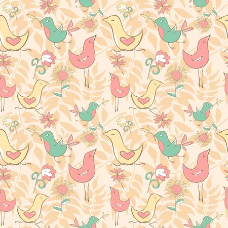 Seamless pattern with cute birds and flowers on the honey background. Vector illustration