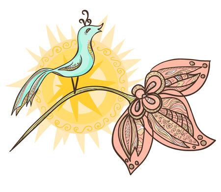 Ornamental Bird With The Sun On A Flower. Vector illustration