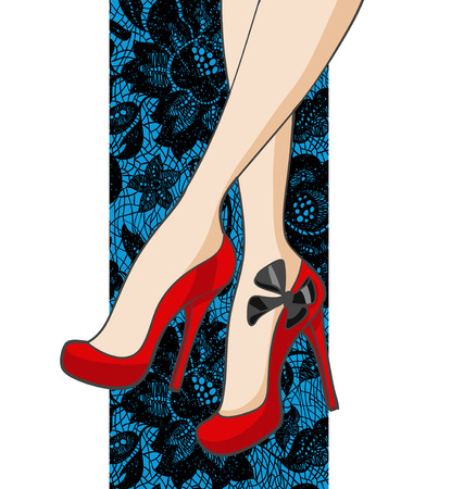 Beautiful Female Legs In Shoes On A Lace Background. Vector illustration 向量圖像