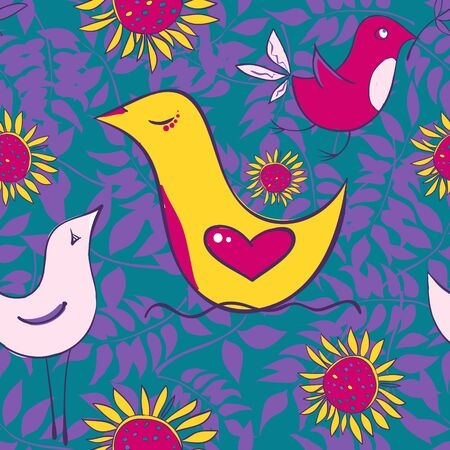 Seamless pattern with birds and sun flowers on a bright background. Vector illustration 向量圖像