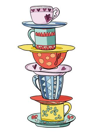 tarde de cafe: Pila de tazas divertidos colores brillantes y platillos. Ilustración vectorial