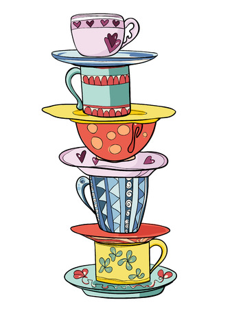Stack of bright colored funny cups and saucers. Vector illustration Illustration