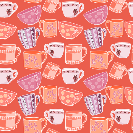 Funny pattern with multi-colored cups on a red background. Vector illustration 向量圖像