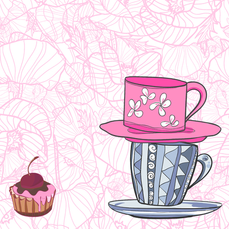 Two cups with patterns and cupcake with cherry. Vector illustration 向量圖像