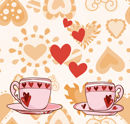 Two cups with hearts for Valentine. Vector illustration