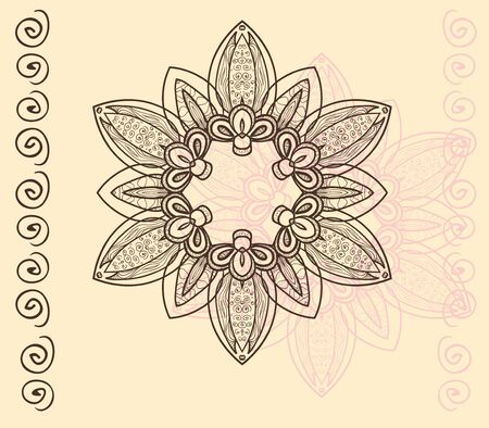 Circular ornament with swirls in pink and brown on vanilla background. Vector illustration