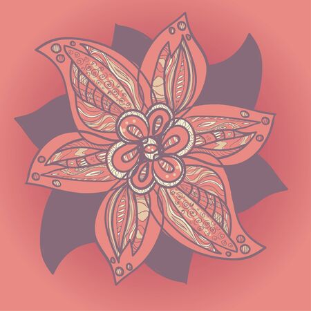 Beautiful ornamental flower in purple color on orange background. Vector illustration