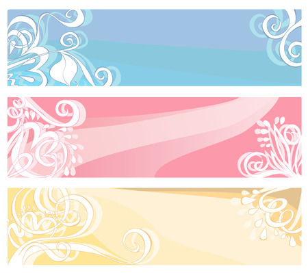 Banners in pastel colors with floral elements and swirls. Vector illustration