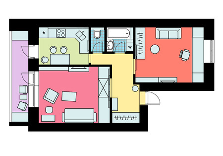 The plan of arrangement of furniture one-bedroom apartment with a colored floor. Vector illustration