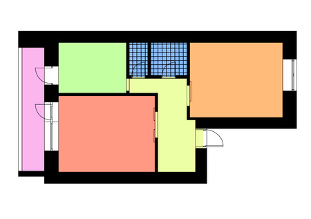 Floor plan one bedroom apartment in bright colors. Vector illustration