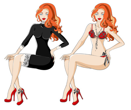 Red-haired woman in black dress with lace and underwear. Vector illustration