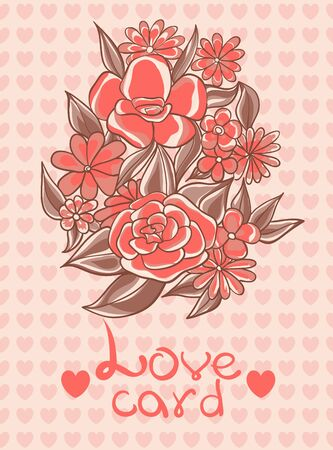 Card with flowers and love hearts on a pink background vanilla. Vector illustration Illustration