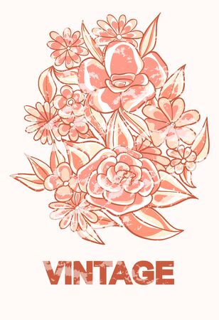 Vintage flowers in sepia with abrasions. Vector illustration