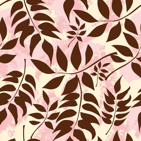 Chocolate Colored Leaves On A Yellow Pink Background. Vector illustration