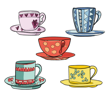 Set of beautiful multi colored bright cups with saucers. Vector illustration