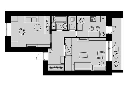 plan: Plan drawing one-bedroom apartment with furniture on a gray background. Vector illustration