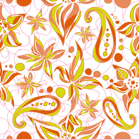 Bright green brown simple pattern with swirls and flowers. Vector illustration