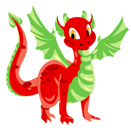 Red spotted dragon with green membranous wings. Vector illustration 向量圖像