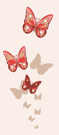 Red and pink fishnet butterflies with shadows on the background of milky color. Vector illustration Illustration
