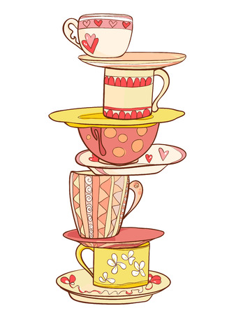 A stack of beautiful cups and mugs with saucers in warm colors. Vector illustration 向量圖像