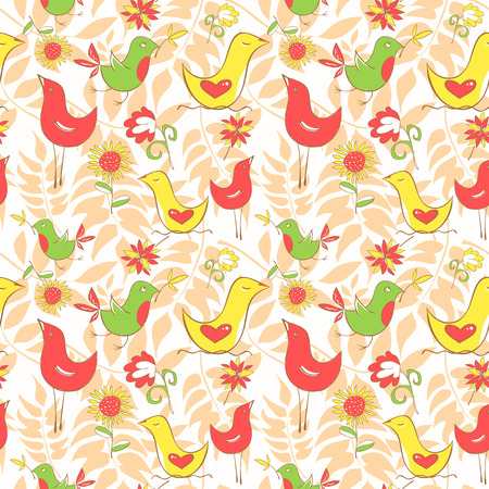 Bright colorful comics pattern with birds and leaflets. Vector illustration