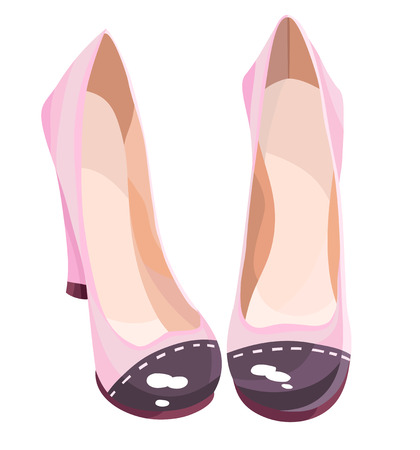 Cute pink high-heeled shoes with contrasting sox. Vector illustration