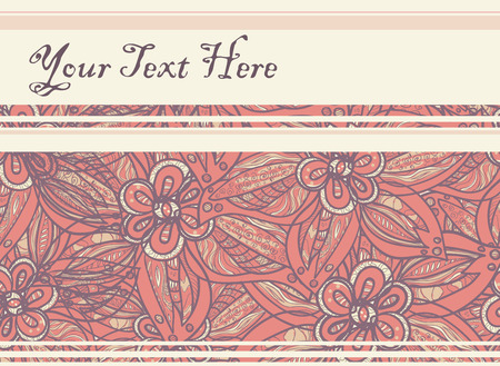 Postcard with floral background in yellow-orange with purple outline and place for text. Vector illustration