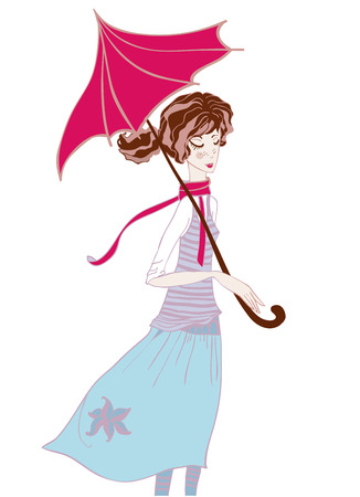 Girl in pastel colors in the scarf and an umbrella in the rain. Vector illustration