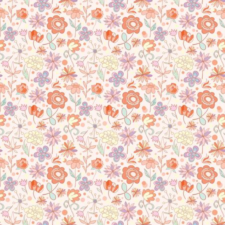 Red-pink with yellow seamless pattern with cartoon flowers. Vector illustration