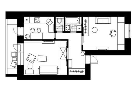 Drawing plan interior of the apartment with one bedroom. Vector illustration 向量圖像