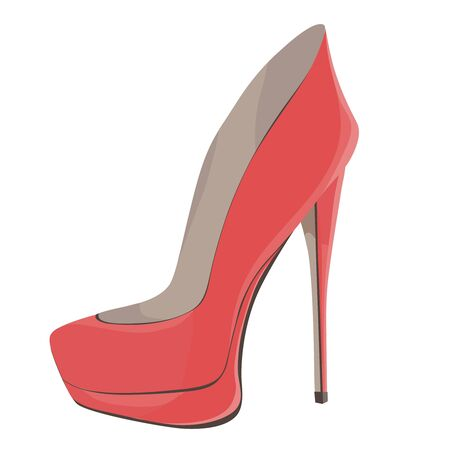 Coral Red High-Heeled Shoes. Vector illustration