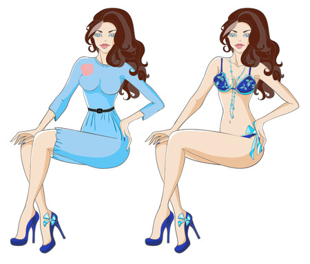 Brunette woman in blue dress with rose and in underwear. Vector illustration