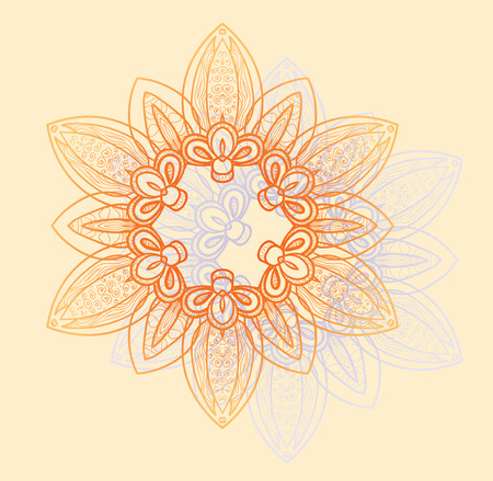 Bright floral circular pattern in orange and lavender flowers on the background of vanilla. Vector illustration