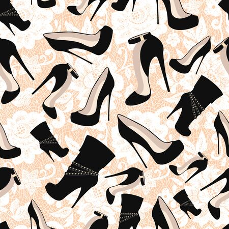 Seamless pattern of black shoes against white lace. Vector illustration