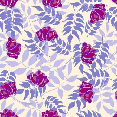 Blue pattern with forest leaves and purple flowers. Vector illustration