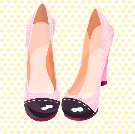 Beautiful and cute pink shoes in yellow peas Vector illustration 向量圖像
