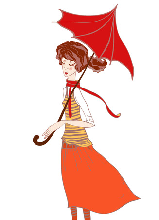 Girl In Autumn Colors In The Scarf And An Umbrella In The Rain. Vector illustration