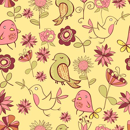 Pattarn Of Funny Colored Bird And Pink Flowers On A Yellow Background. Vector illustration