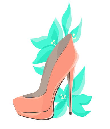 Coral Pink High-Heeled Shoes With Mint Flowers. Vector illustration