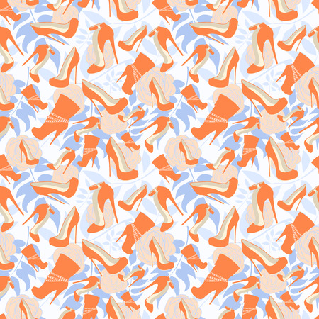 Seamless pattern of the shoes on the background of delicate roses and leaves. Illustration 向量圖像