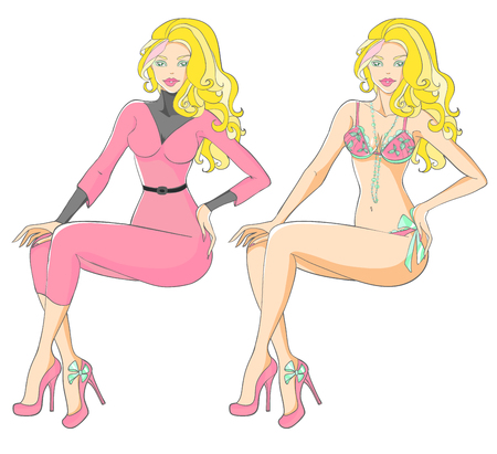 Tanned blonde in pink corduroy suit with heels and lingerie. Illustration