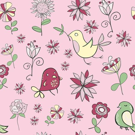 Cute Funny Little Birds With Flowers In Pastel Colors On A Pink Background. Illustration