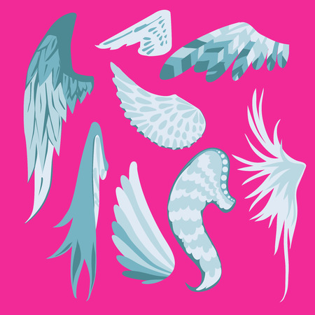 Set Of Beautiful Cute White And Blue Wings On A Pink Background. Illustration 向量圖像